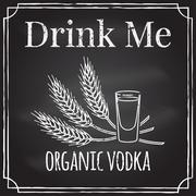 Drink me. Elements on the theme of the restaurant business.  Chalk drawing .. Stock Illustration