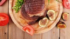Meat entree : grilled beef steak Stock Footage