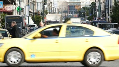 4K Rush hour commuters Traffic crosswalk zebra crossing Athens Athina Greece Stock Footage