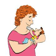 Joyful woman feeds the baby milk from a bottle Stock Illustration