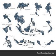 Southeast Asia map Stock Illustration