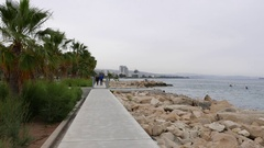 Baywalk with palm trees in Limassol. Stock Footage