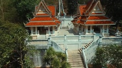Aerial: Three hundred steps temple near Pattaya. Stock Footage