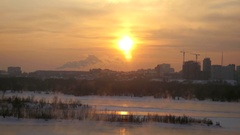 View of Novosibirsk from the height at sunset in winter. 3840x2160 Stock Footage