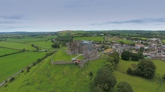 The view of the Rock of Cashel in aerial view in Ireland Stock Footage