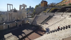 The Roman theatre of Plovdiv Stock Footage
