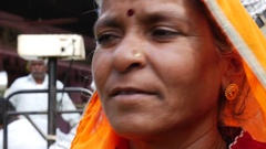 Indian woman in a local market in Jaipur, India Stock Footage