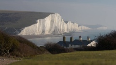 Seven Sisters chalk cliffs, East Sussex, UK Stock Footage