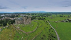The Rock of Cashel found in the hill in Ireland in Ireland Stock Footage