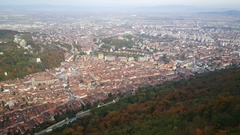 View of Brasov from mount tampa Stock Footage