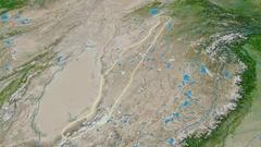 Revolution around Kunlun mountain range - glowed. Satellite imagery Stock Footage