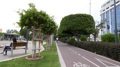 Bike path in Cyprus Stock Footage