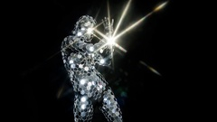 Disco suit party music clubbing mirrorball performer Stock Footage