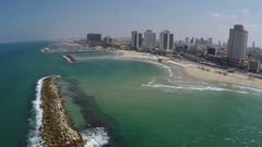Aerial view of Tel-Aviv beach and marina Stock Footage