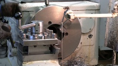 Metal blank machining process on lathe Stock Footage