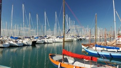 4K Flisvos Marina yacht windsurfer harbor pier Athens Athina Athen Greece Europe Stock Footage