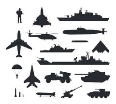 Set of Military Armament Vector Silhouettes Stock Illustration