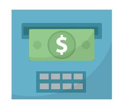 ATM gives out money icon, cashouts flat design, isolated on white backgroun.. Stock Illustration