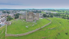The Rock of Cashel on top of a hill in Ireland in Ireland Stock Footage