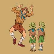 The scoutmaster is afraid of insects Stock Illustration