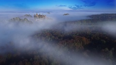 Aerial shot – Fantasy Castle in a foggy forest Stock Footage