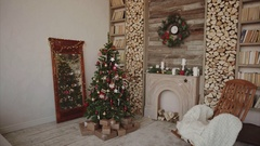 Presents and gifts under christmas tree in the decorated room Stock Footage