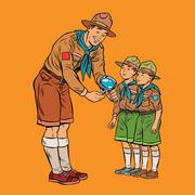 Scoutmaster shows little insect to young scouts Stock Illustration