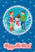 Happy couple of young people sculpts snowman. Vector illustration card Piirros