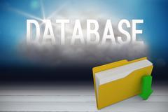 Composite image of digital image of yellow folder with downloading arrow symbol Stock Illustration