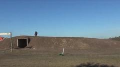 Men racing in a motocross motor sports race, slow motion. Stock Footage