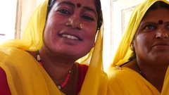 Traditional Indian Women in sari Costume Stock Footage