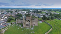 Aerial view of the old Rock of Cashel in Ireland in Ireland Stock Footage