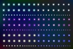 Set Glowing Light Effect Stars. Collection of various shining forms  sparks.. Stock Illustration