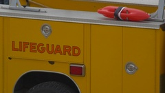 Detail of a lifeguard truck. Stock Footage