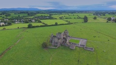 The view from the top of Hore of Abbey in a hill in Ireland Stock Footage