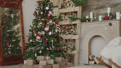 Shot of christmas presents and gifts under new year tree Stock Footage