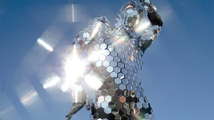 Disco suit party music clubbing mirrorball performer sunshine Stock Footage