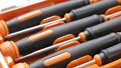 Set of small screwdrivers in the box close-up Stock Footage