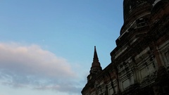 Time lapse clouds at Wat Yai Chaimngkol Stock Footage
