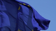 Flag of European Union waving in the wind. Stock Footage