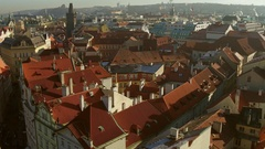 Tiled roofs of old town of Prague on a sunny day, Czech Republic. 4K overview Stock Footage