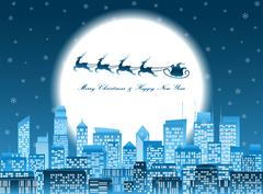 Merry christmas santa in a sledge flying over a night city Stock Illustration