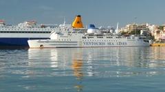 4K Piraeus harbour harbor passenger ferry mooring Athens Athina Athen Greece Stock Footage