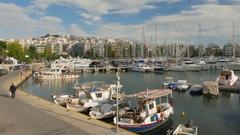4K Time Lapse Marina Sea in Piraeus harbour harbor Athens Athina Greece Stock Footage