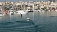 4K Marina Sea in Piraeus harbour harbor area Athens Athina Athen Greece Europe Stock Footage