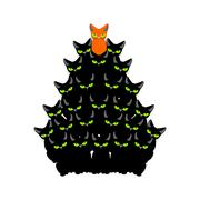 Cats Christmas tree. Spruce of pet. fir-tree from cat. New Year illustratio.. Stock Illustration