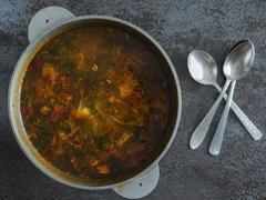 Soup in a saucepan Stock Photos