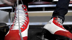 Laces up the Figure Skates Stock Footage