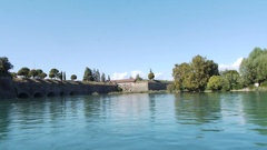 PESCHIERA DEL GARDA, VENETIEN, AUGUST 30, 2010: The Fortress and the external fo Stock Footage