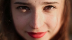 Fifteen beautiful girl. Close-up face with freckles Stock Footage